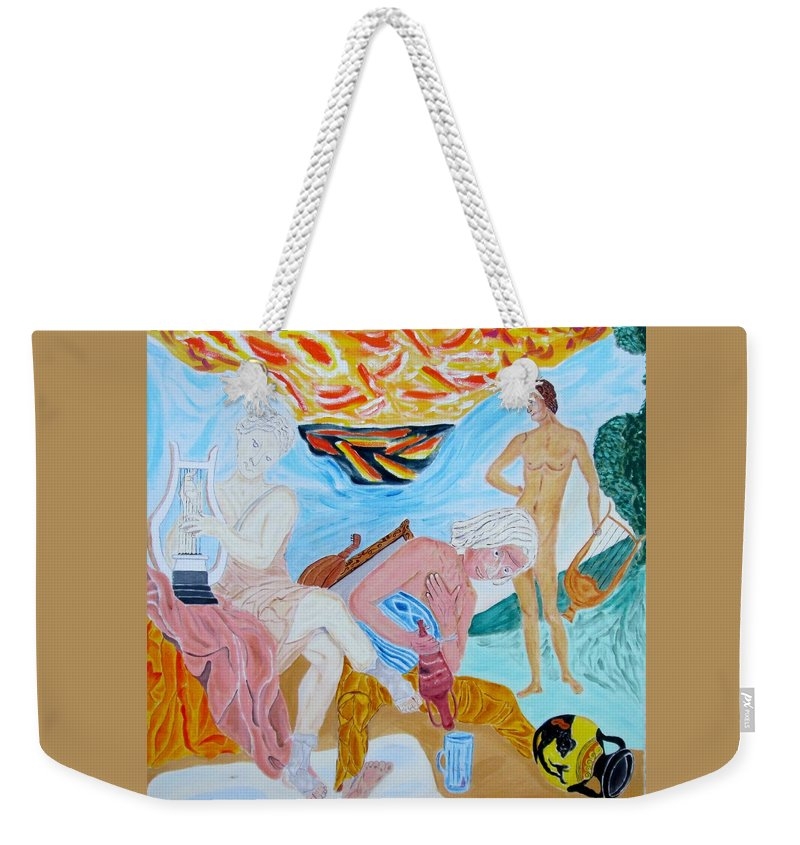 Joy Weekender Tote Bag featuring the painting The Joy Of A Fool by David Yoffe