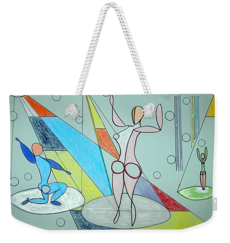 Juggling Weekender Tote Bag featuring the drawing The Jugglers by J R Seymour