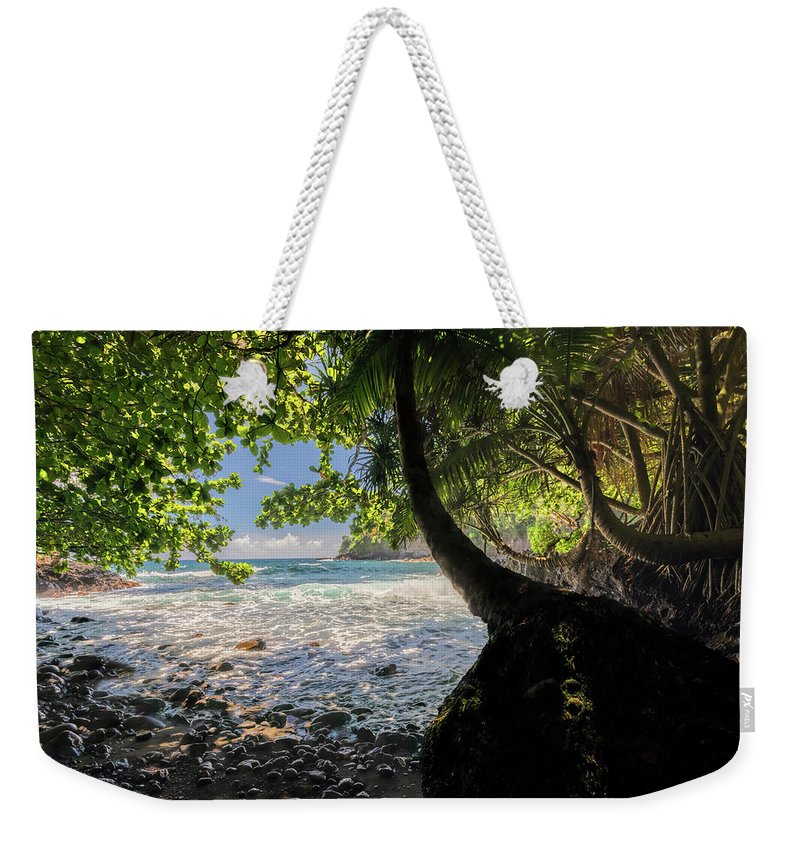 Onomea Bay Weekender Tote Bag featuring the photograph The Jungle At Onomea Bay by Susan Rissi Tregoning