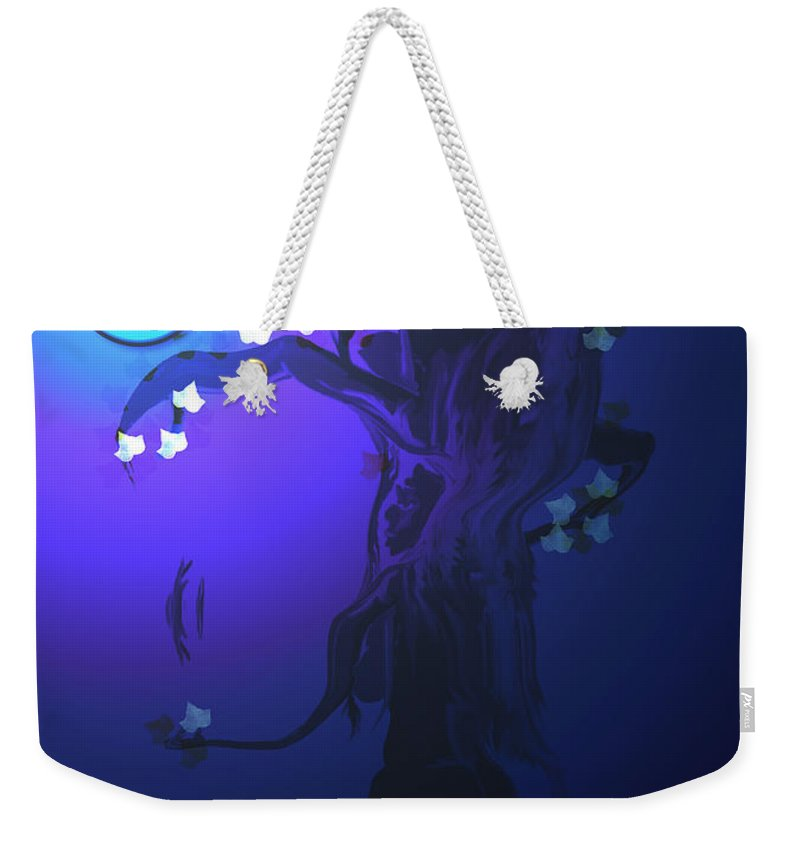 Tree Moon Spider Leaves Blue Feelings Lonely Drawing Dark Weekender Tote Bag featuring the digital art The Keeper by Andrea Lawrence