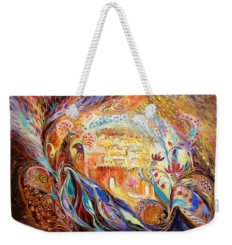Original Weekender Tote Bag featuring the painting The Keepers Of Old City by Elena Kotliarker