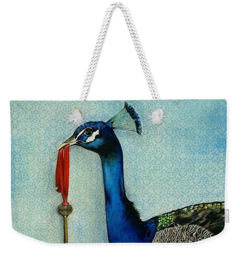 The Key To Success Weekender Tote Bag featuring the painting The Key To Success by Carrie Jackson