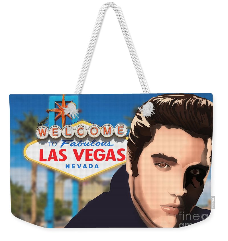 Elvis Weekender Tote Bag featuring the digital art The King by Alan Smith