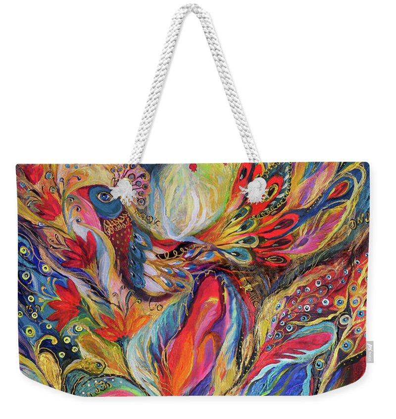 Original Weekender Tote Bag featuring the painting The King Bird by Elena Kotliarker