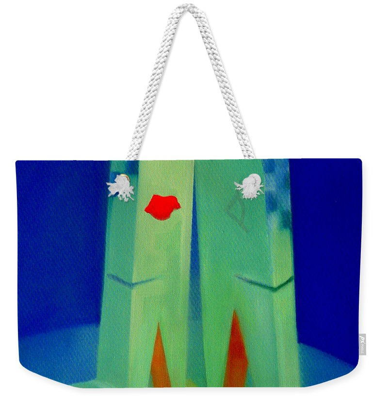 Blue Weekender Tote Bag featuring the painting The Kiss by Charles Stuart