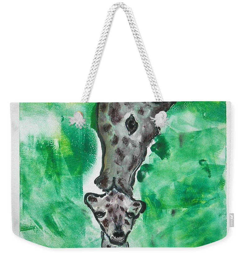 Hand Pulled Print Weekender Tote Bag featuring the mixed media The Kiss by Cori Solomon