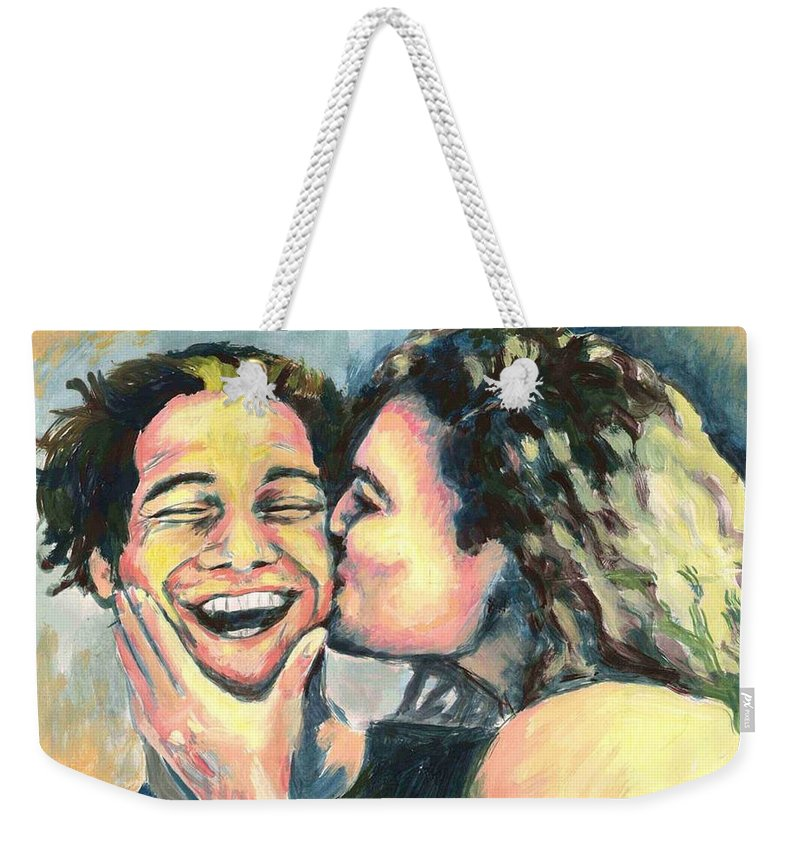 Man Weekender Tote Bag featuring the painting The Kiss by Nicole Zeug