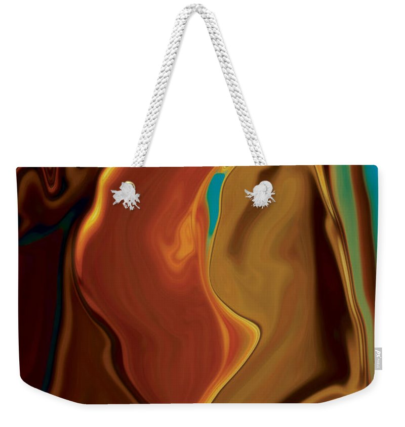 Abstract Art Blue Brown Digital Embrace Figurative Girl Green Kiss Love Man Night Passion Rabi_khan Weekender Tote Bag featuring the digital art The Kiss by Rabi Khan