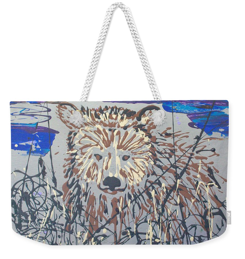 Bear In Bushes Weekender Tote Bag featuring the painting The Kodiak by J R Seymour