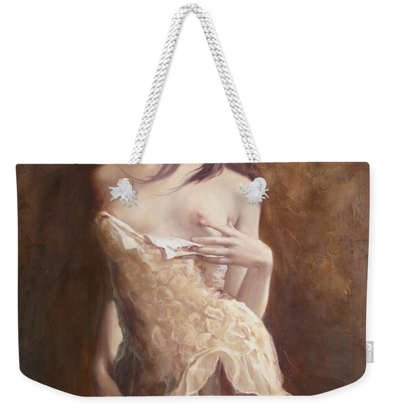 Art Weekender Tote Bag featuring the painting The Laces by Sergey Ignatenko