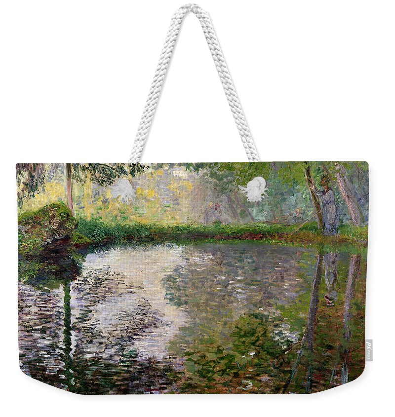 The Lake At Montgeron By Claude Monet (1840-1926) Weekender Tote Bag featuring the painting The Lake At Montgeron by Claude Monet