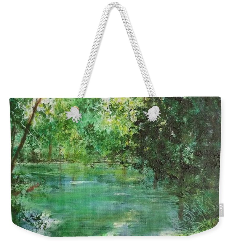 Lake Weekender Tote Bag featuring the painting The Lake At Stansted Unfinished by Lizzy Forrester