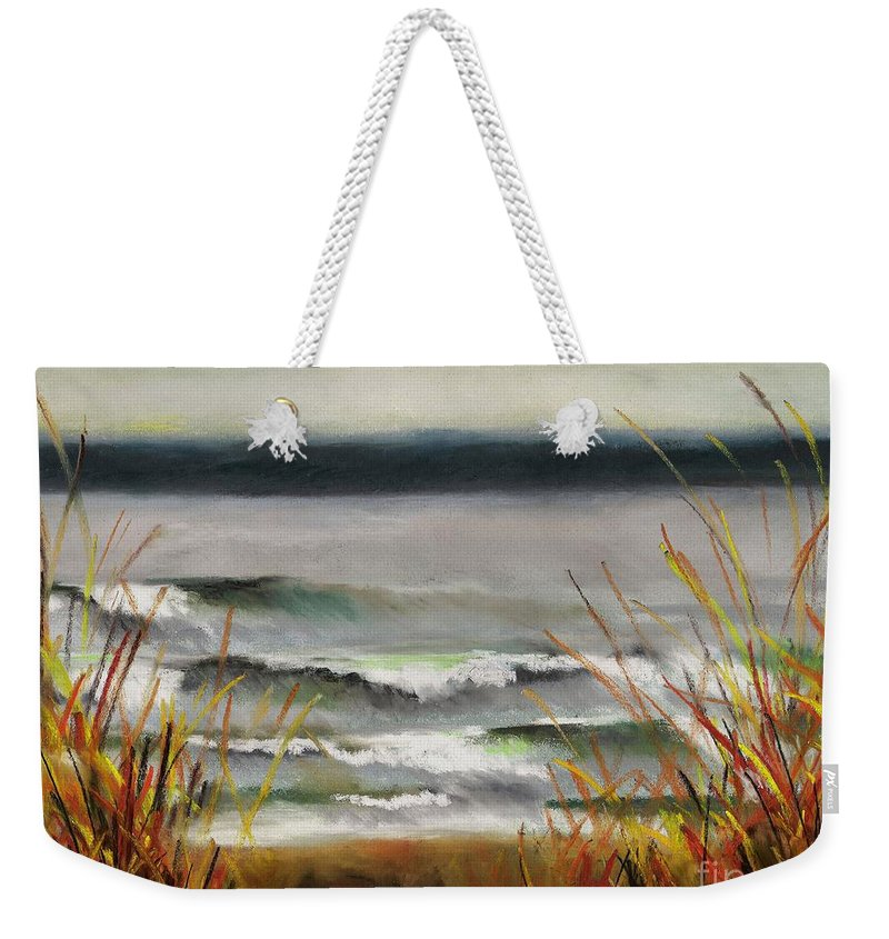 Lakes Weekender Tote Bag featuring the painting The Lake Shore by Frances Marino