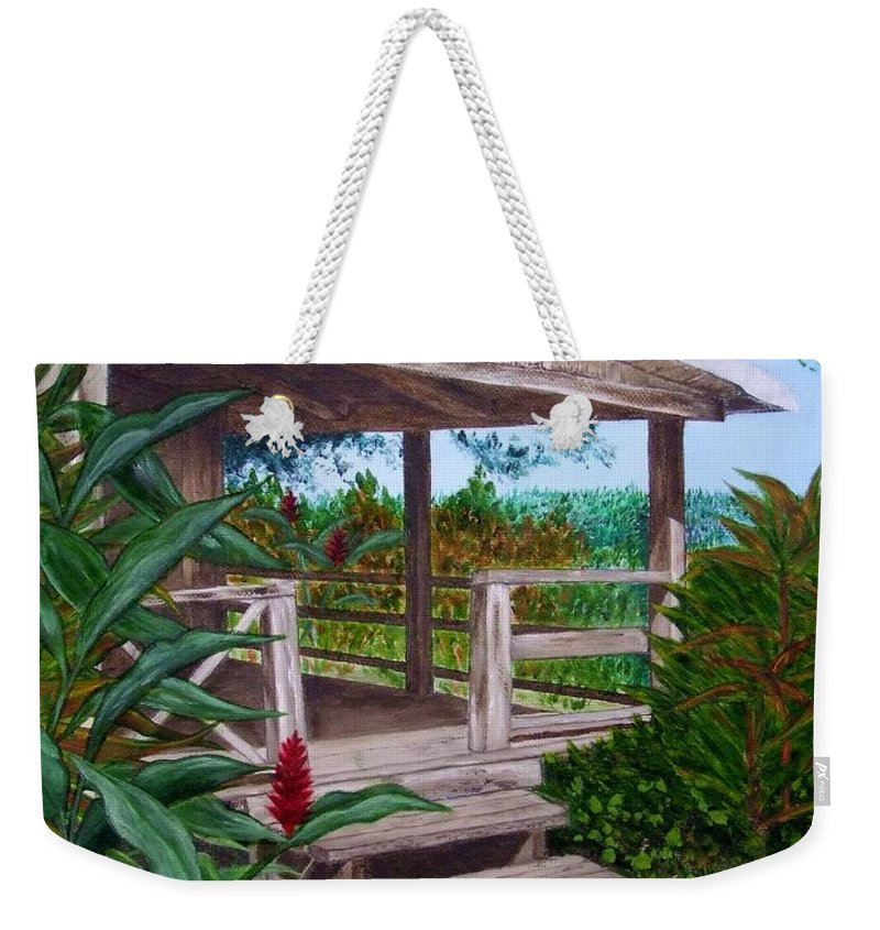 House Weekender Tote Bag featuring the painting The Lanai by Mary Deal