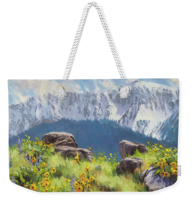 Landscape Weekender Tote Bag featuring the painting The Land Of Chief Joseph by Steve Henderson