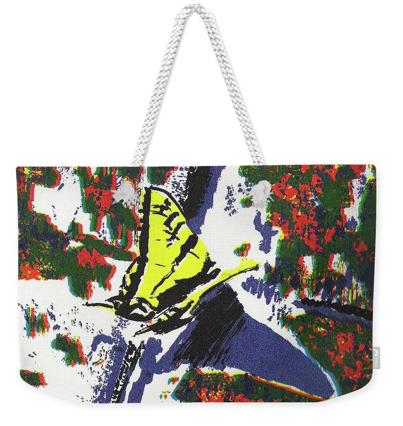 Butterfly Weekender Tote Bag featuring the painting The Landing by Virgie Cordle