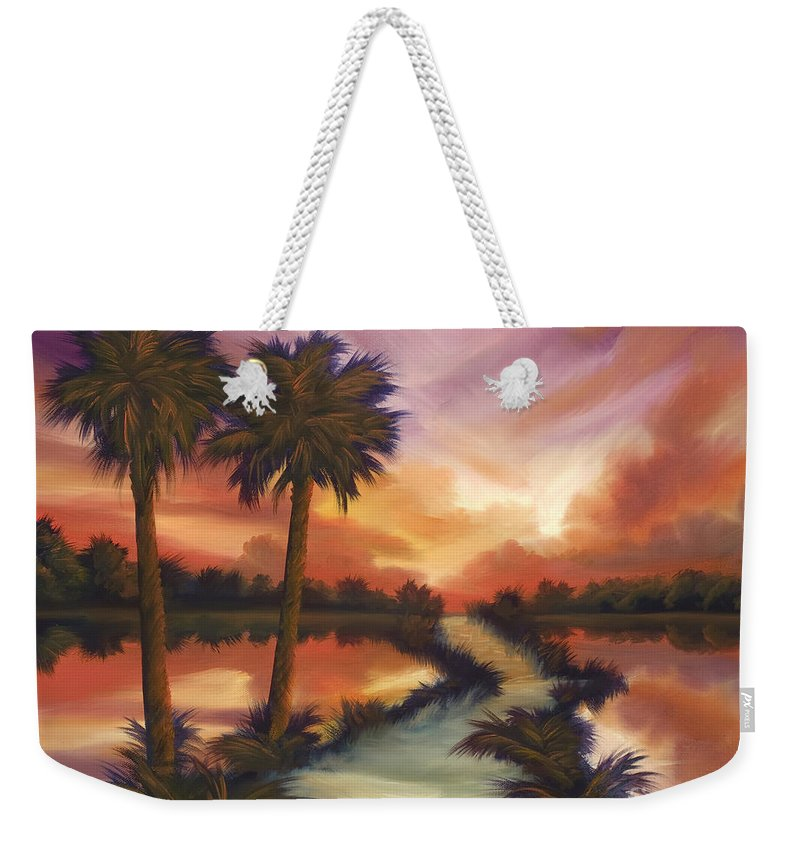 Skyscape Weekender Tote Bag featuring the painting The Lane Ahead by James Christopher Hill