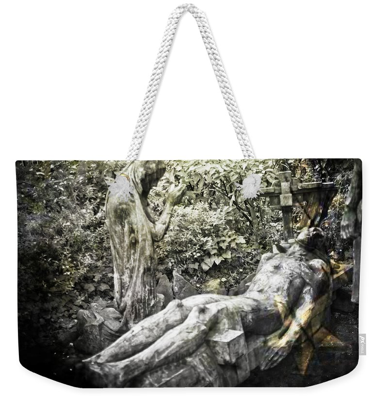 Statue Weekender Tote Bag featuring the photograph The Last Breath by Alex Art and Photo