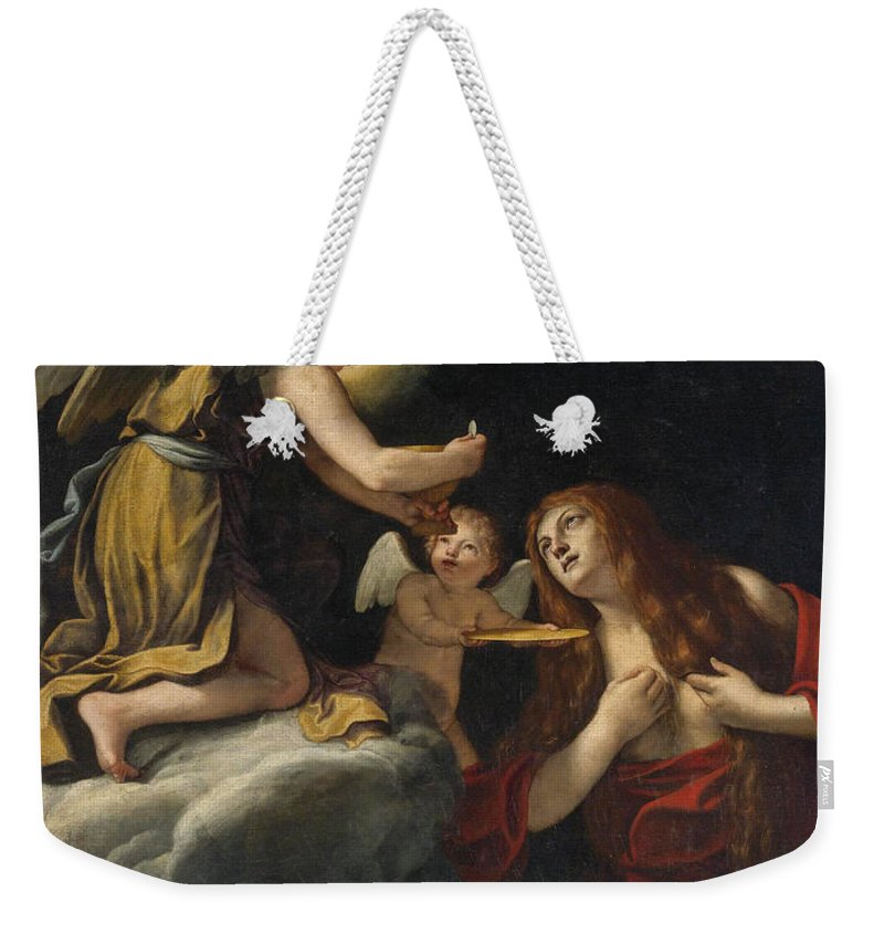 Lucio Massari Weekender Tote Bag featuring the painting The Last Communion Of The Magdalene by Lucio Massari