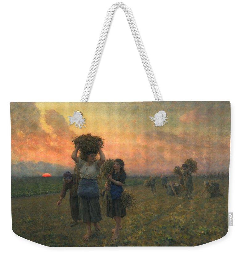 Sundown Weekender Tote Bag featuring the painting The Last Gleanings by Jules Breton