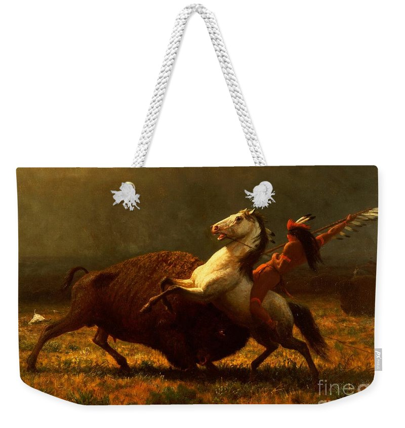 Albert Bierstadt Weekender Tote Bag featuring the painting The Last of the Buffalo by Albert Bierstadt