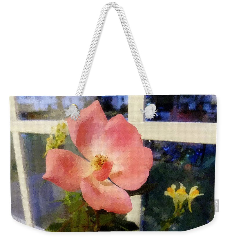 Rose Weekender Tote Bag featuring the painting The Last Rose Of Summer by RC DeWinter