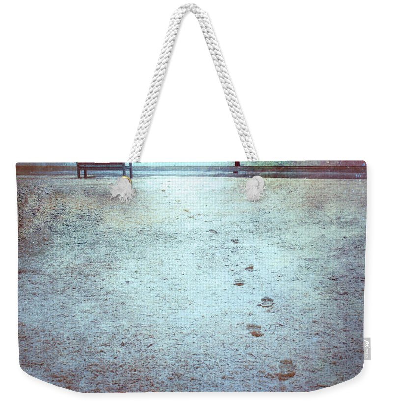 Bench Weekender Tote Bag featuring the photograph The Last Snowfall by Tara Turner