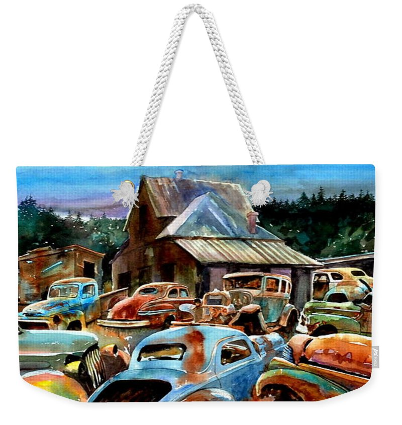 Old Cars Weekender Tote Bag featuring the painting The Last Stand by Ron Morrison