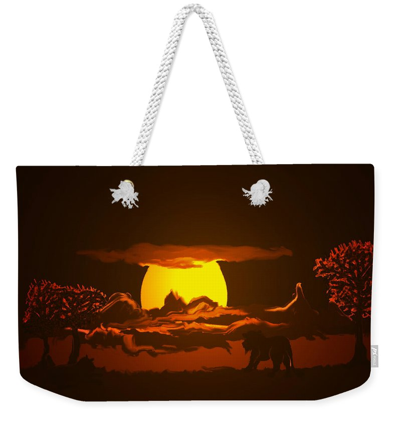 Lion Lions Desert Water Sunset Wild Animals Trees Weekender Tote Bag featuring the digital art The Last Water Hole by Andrea Lawrence