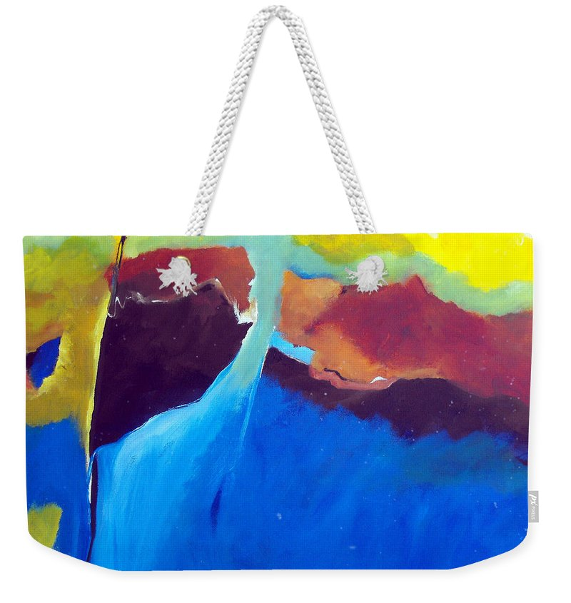 Abstract Weekender Tote Bag featuring the painting The Lay Of The Land by Ruth Palmer