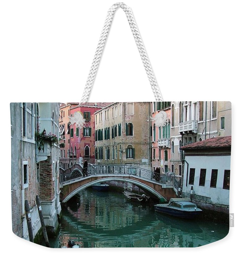 Landscape Weekender Tote Bag featuring the photograph The Leaning Boat by Donna Corless