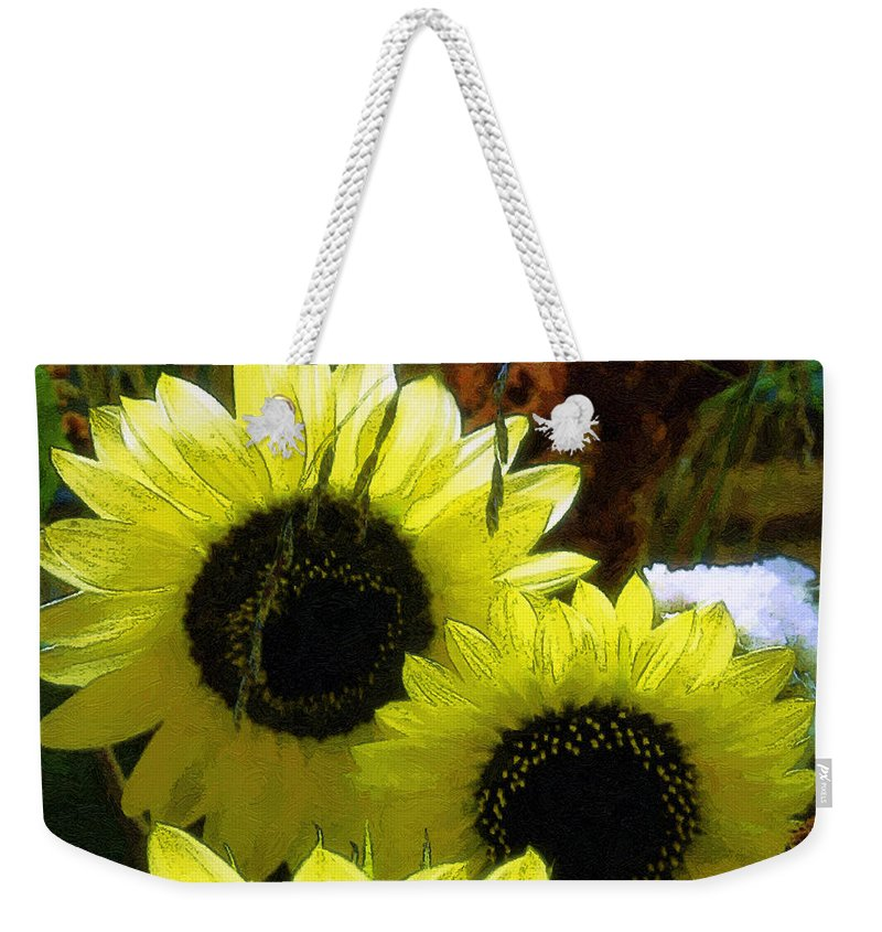 Sunflowers Weekender Tote Bag featuring the digital art The Lemon Sisters by RC DeWinter