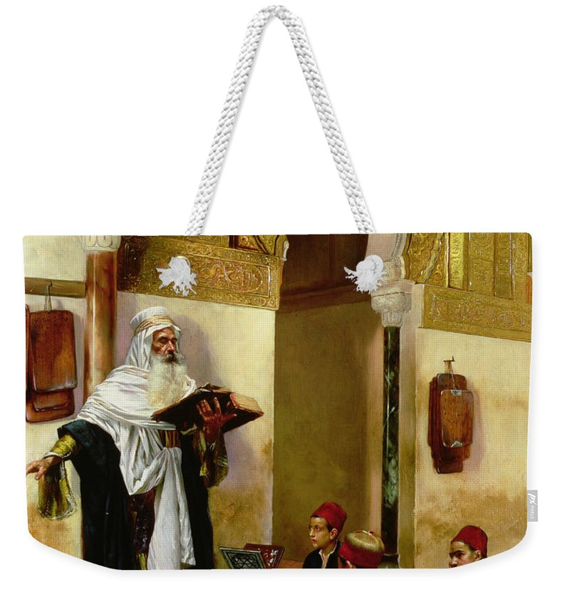 Children; Child; Teacher; Learning; Education; Orientalist; Imam; Moslem; Koran; Quran; Muslim; Religious; Religion; Middle Eastern; Arab Weekender Tote Bag featuring the painting The Lesson by Rudolphe Ernst