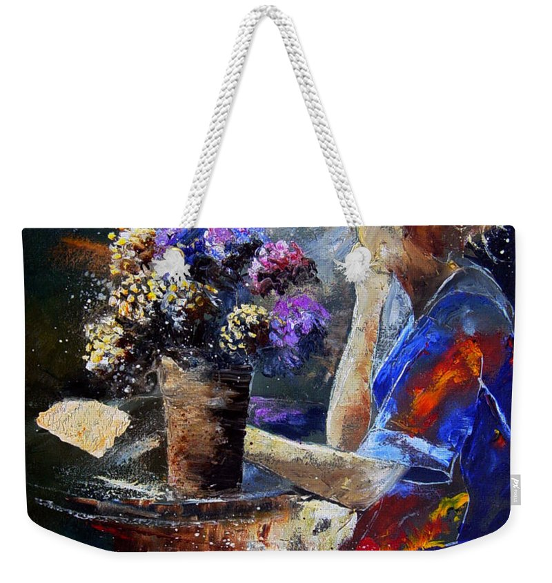 Girl Nude Weekender Tote Bag featuring the painting The Letter by Pol Ledent