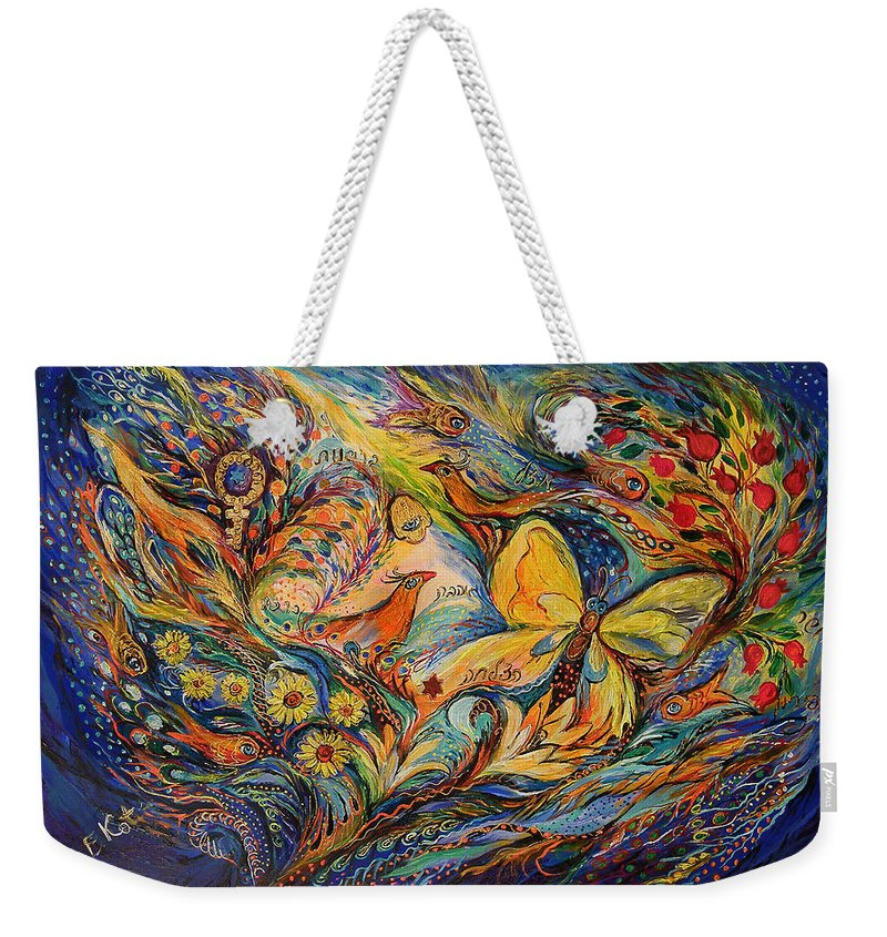 Original Weekender Tote Bag featuring the painting The Life Of Butterfly by Elena Kotliarker