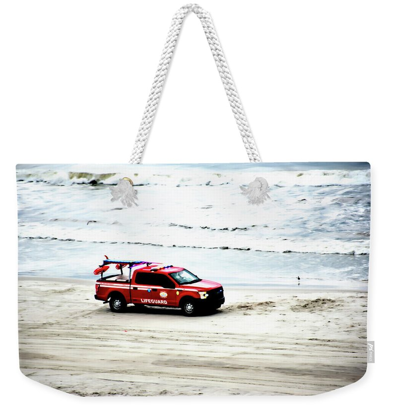 Lifeguard Weekender Tote Bag featuring the photograph The Lifeguard Truck by Gina O'Brien