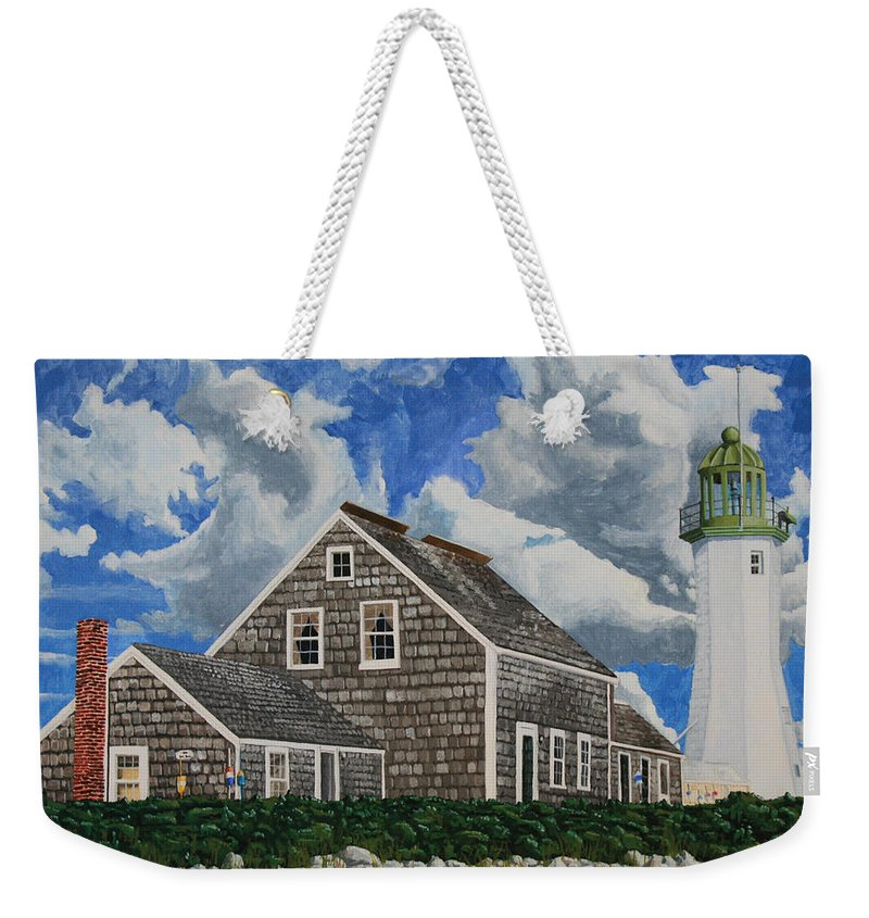 Lighthouse Weekender Tote Bag featuring the painting The Light Keeper's House by Dominic White