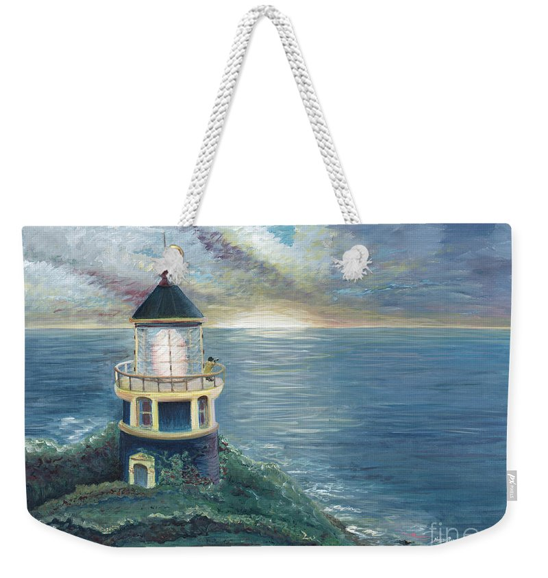 Lighthouse Weekender Tote Bag featuring the painting The Lighthouse by Nadine Rippelmeyer