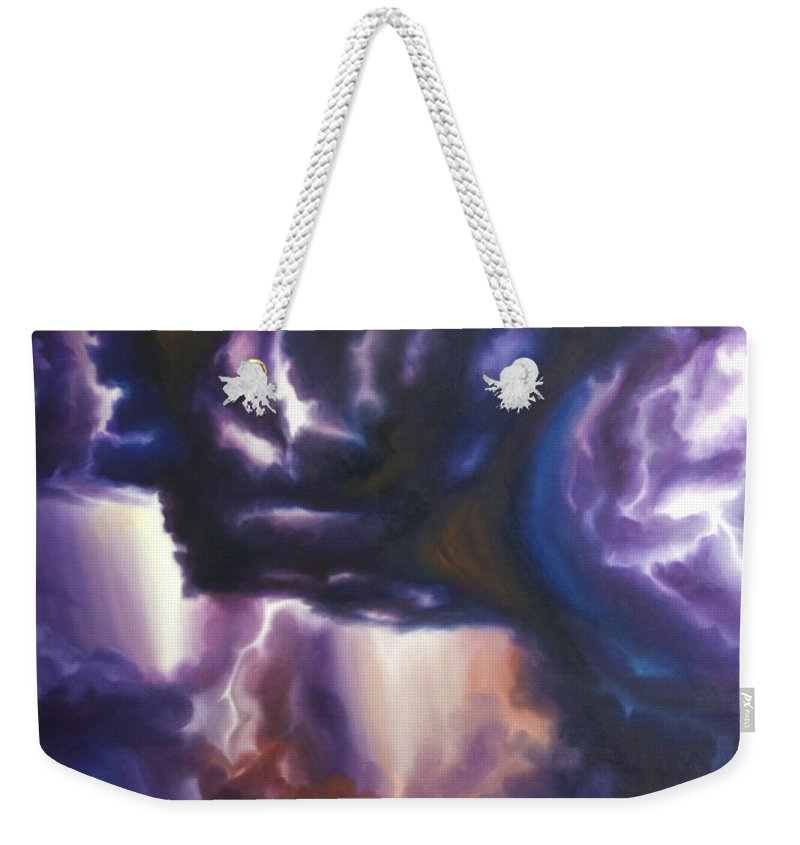 Tempest Weekender Tote Bag featuring the painting The Lightning by James Christopher Hill
