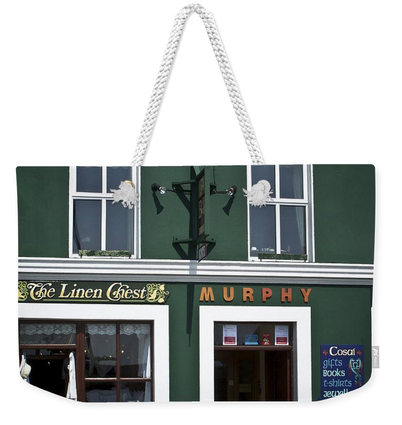 Irish Weekender Tote Bag featuring the photograph The Linen Chest Dingle Ireland by Teresa Mucha