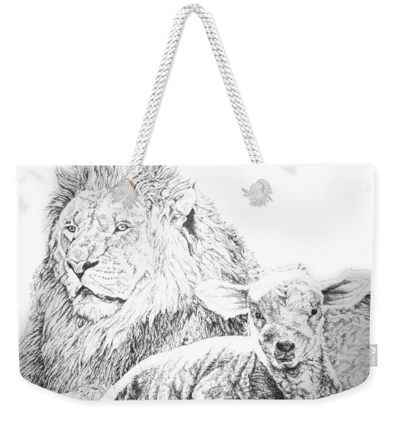 Lion Weekender Tote Bag featuring the drawing The Lion And The Lamb by Bryan Bustard