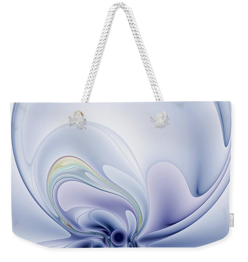Abstract Weekender Tote Bag featuring the digital art The Liquidity Of Thought by Casey Kotas