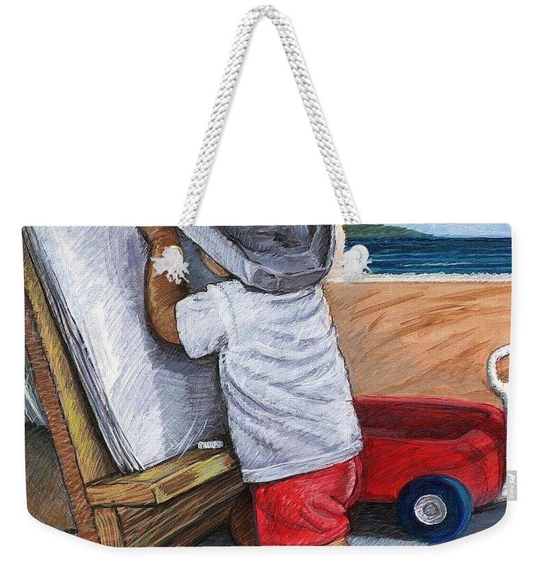 Young Artist Weekender Tote Bag featuring the painting The Little Artist by Snake Jagger