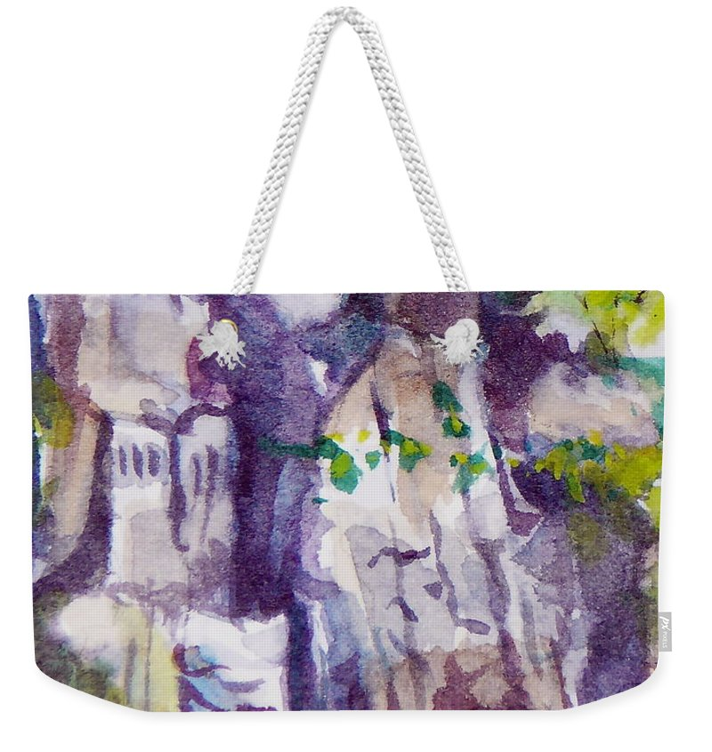 Purple Weekender Tote Bag featuring the painting The Little Climbing Wall by Jan Bennicoff
