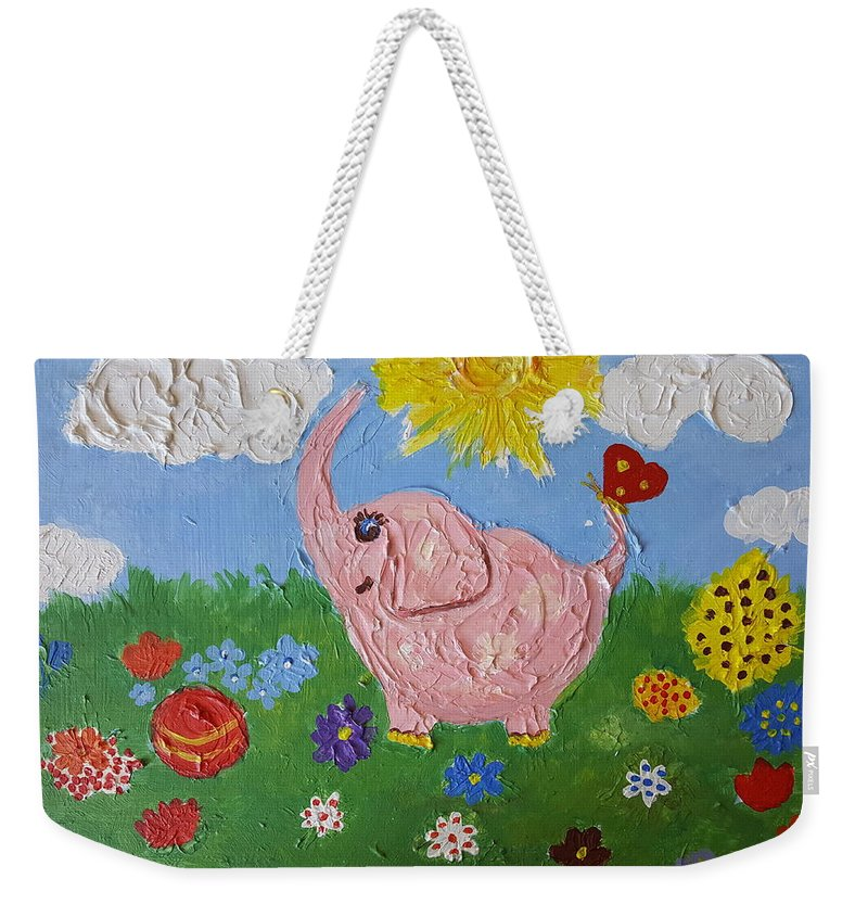 Elephant Weekender Tote Bag featuring the painting Little Pink Elephant by Rita Fetisov