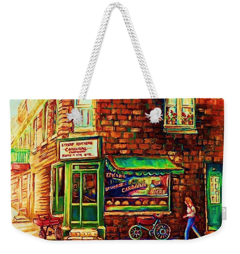 Montreal Weekender Tote Bag featuring the painting The Little Red Wagon by Carole Spandau