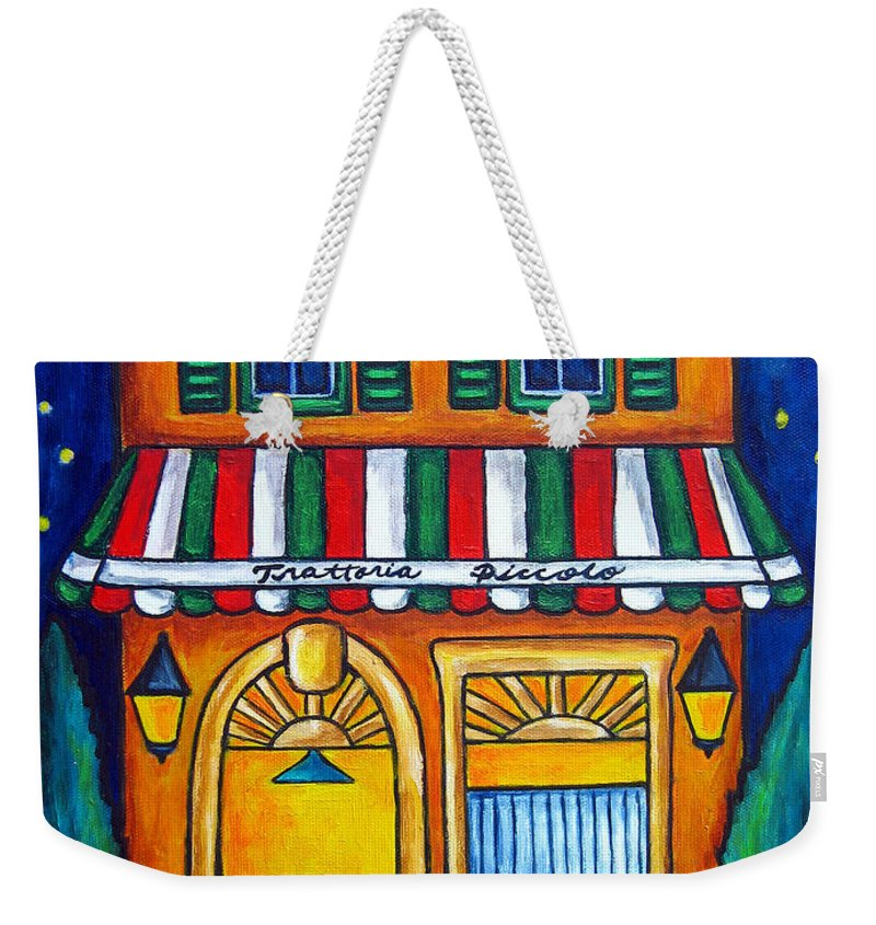 Blue Weekender Tote Bag featuring the painting The Little Trattoria by Lisa Lorenz