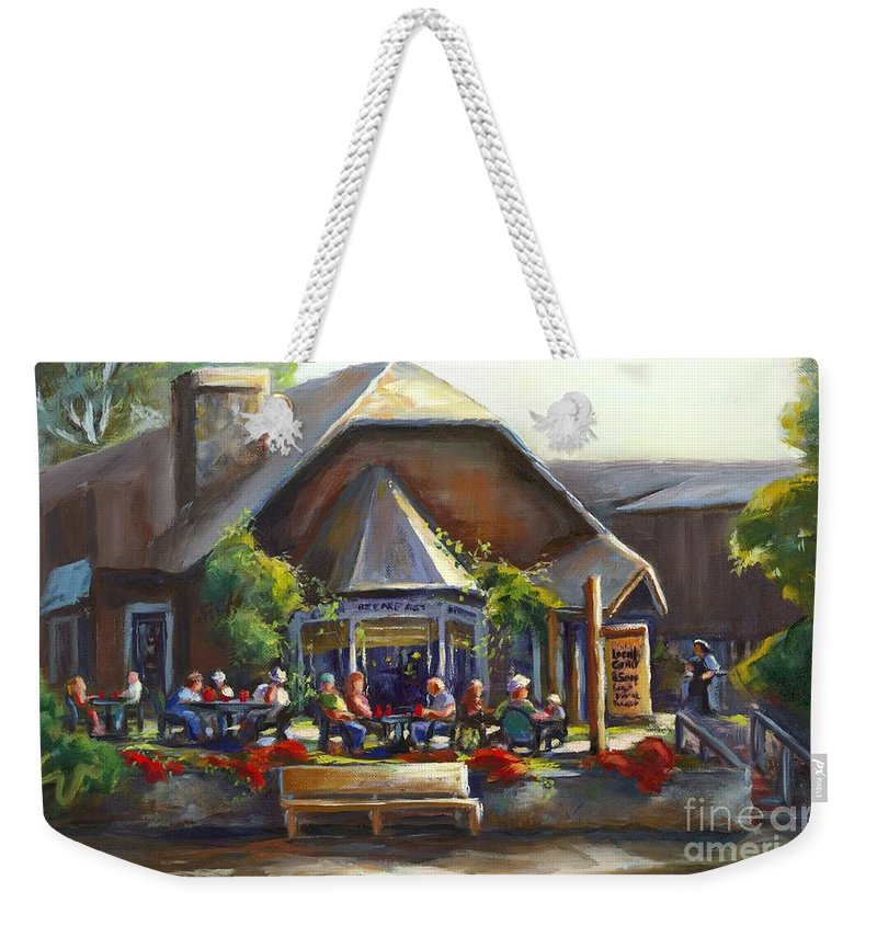 The Local Grill And Scoop Weekender Tote Bag featuring the painting The Local Grill And Scoop by Sharon Abbott-Furze