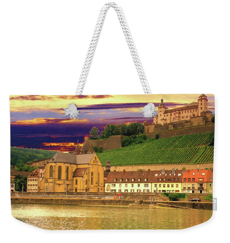 Landscape Weekender Tote Bag featuring the digital art The Lock On The Hill by Alex Lim