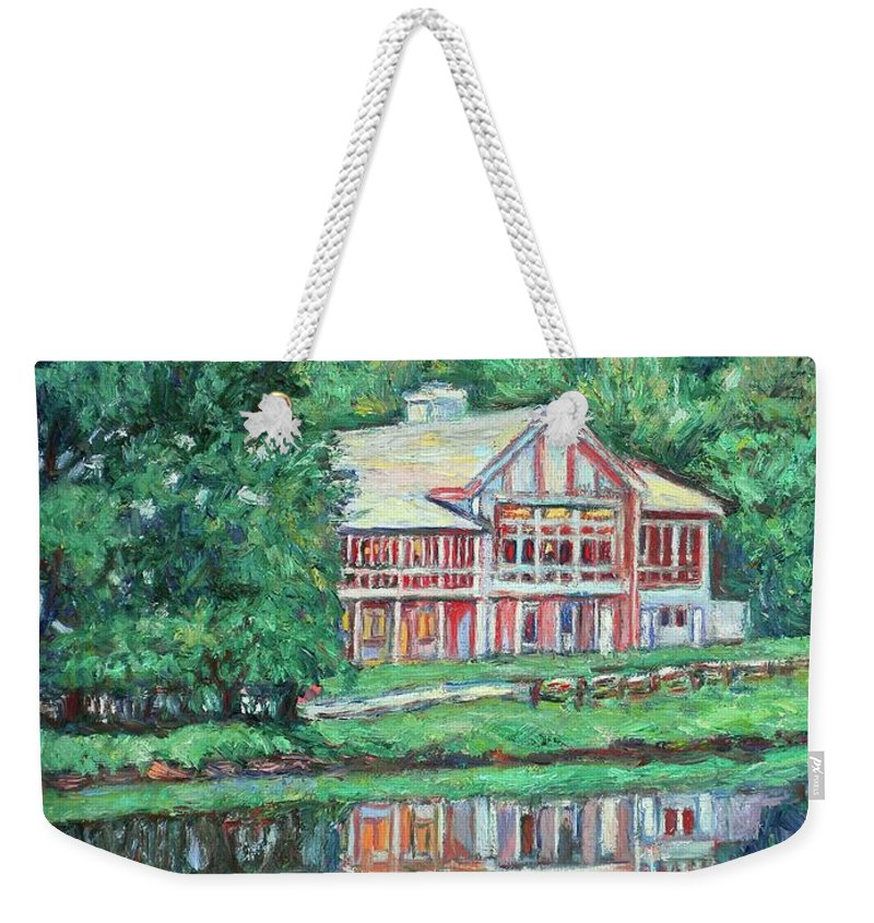 Lodge Paintings Weekender Tote Bag featuring the painting The Lodge At Peaks Of Otter by Kendall Kessler